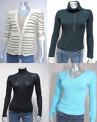 Lot of 4 Womens Casual Tops Sweaters Cardigan sz S M Cowl / Turtleneck Moda