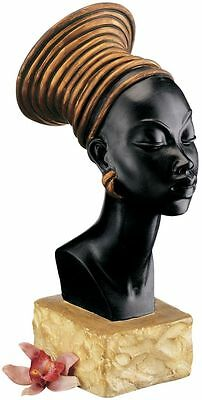 Regal Queen of Nubia Sudan Royal Headdress African Woman Gallery Sculptural Bust