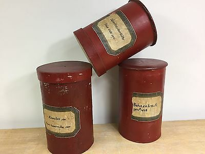 Collection of 3 Antique Pharmacy Chemist Apothecary Dispensing canisters