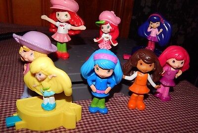 "Strawberry Shortcake Figures Dolls McDonalds 3"" Toy Cake Toppers Fun 8 Piece Lot"