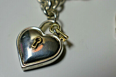 a4f2eb947 Tiffany & Co. Padlock Lock Heart Charm Link Necklace Sterling Silver RARE  Pouch