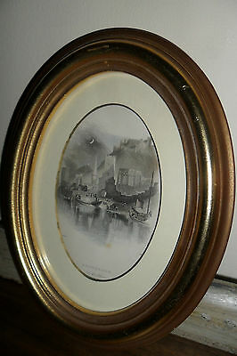 Antique Bacharach - On the Rhine Print in Gold Oval Frame - Good condition