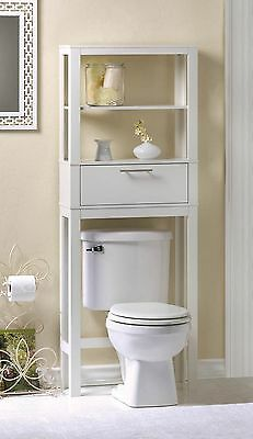 Over Toilet White Wood Storage Shelves & Matching Floor Cabinet 2PC Mixed NIB