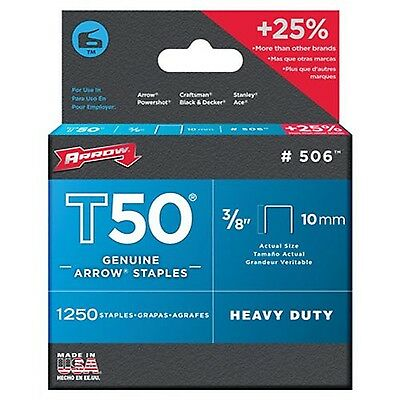 Arrow Fastener 506 Genuine T50 3/8-Inch Staples 1250-Pack 1 NEW
