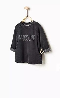 ZARA Baby Boy 'Awesome' Jumper Sweater Capsule Collection 12-18 Months BNWT