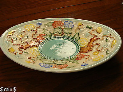 Majolica Indian Tree Hand Painted Oval Bowl H. J. Wood England 12x7.5 inches
