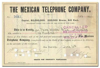 Mexican Telephone Company Stock Certificate