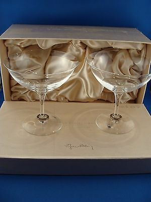 Pair of Orrefors Sweden Amor Vincet Omnia Champagne Coupe Pair by Efva Attling
