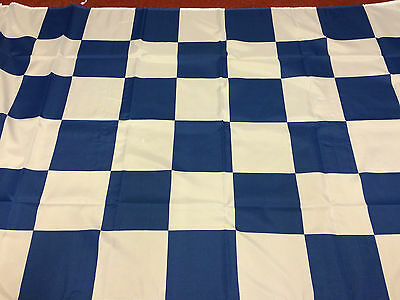 """Chequered Flag Royal Blue And White Large Flag 5ft X 3ft 60"""" x 36"""""""