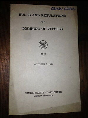 Rules And Regulations For Manning Of Vessels  United States Coast Guard 1959