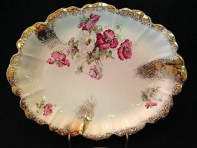 Vintage Dresden-Germany-Poppies & Gold Sprays-Oval Serving Plate Or Platter