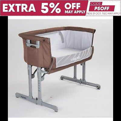 Star Kidz Vicino Deluxe Baby Bedside Co-sleeper Bassinet Cot - Caribou Brown