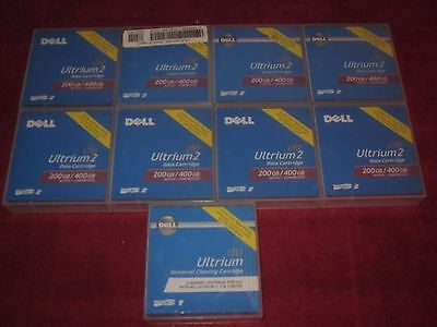 LOT OF 8 Dell LTO Ultrium 2 200/400gb Data Carts 1 Universal Cleaning Cartridge