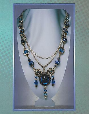 Sapphire Blue Bead & Gold Chain Victorian Revival Statement Necklace 5112