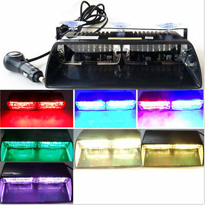 New 16 LED Car Strobe Light Dash Emergency 18 Flashing Light with Suction FQ