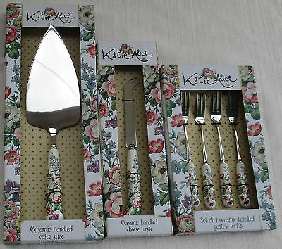 Katie Alice The Vintage Garland Collection Cake Slice Cheese Knife Pastry Forks