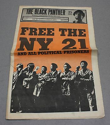 Vintage 1969 Black Panther Party Newspaper w/ Free The New York 21 Cover
