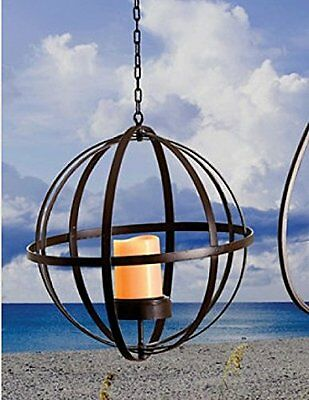 Outdoor Hanging Round Solar Lights Candle Lantern Lighting Patio Garden Decor