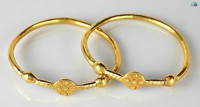 Fine 6th C. Antique Pair of Byzantine Solid 22K Gold Bracelets/Bangles/Anklets