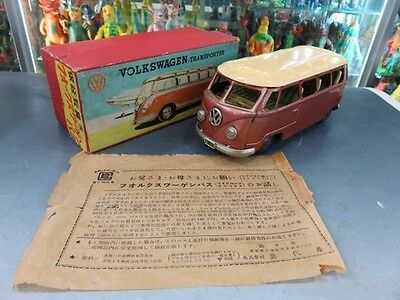 Bandai Volkswagen bus Vintage Toy Car 1960s Japan Friction Tin Made in Jpan F/S