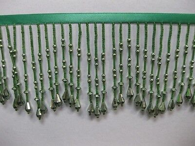 Metallic Bead Fringe,sold by yards ,4 inches ,GREEN