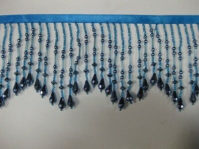 Metallic Bead Fringe,sold by yards ,4 inches,TURQUIES BLUE