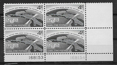 CANAL ZONE , US , 1962 , THATCHER FERRY BRIDGE  , 4c PLATE BLOCK OF 4 , MNH