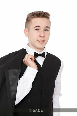 Tuxedo Suit Includes Black Jacket Waistcoat Trousers Dickie Bow & Shirt 1-15yrs