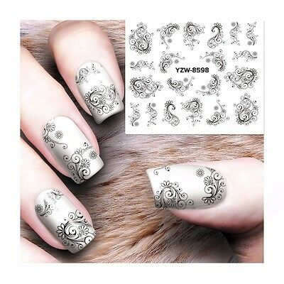 Nail Art Water Decals Stickers Transfers Stamping Black Lace Flowers Swirls 8598