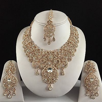 Gold Clear Indian Costume Jewellery Necklace Earrings Crystal Diamond Set New