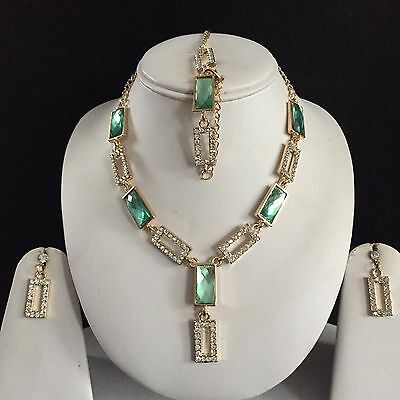 Green Gold Crystal Costume Jewellery Necklace Earrings Bracelet Set New Gift