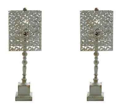 "Pair Wood Metal Table Lamp Vintage Rustic Shabby Chic Set 29"" Gray Green Rust"