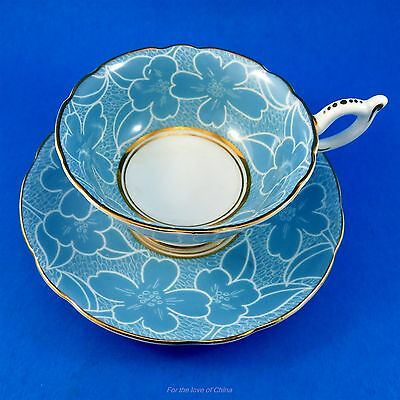 Pretty Light Blue & White Floral Coalport Tea Cup and Saucer Set