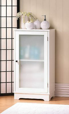White Wood Floor Cabinet With Frosted Glass Door NIB