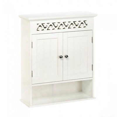 White Wood Wall Cabinet with Double Doors Open Display Shelf & Ivy Lattice Trim