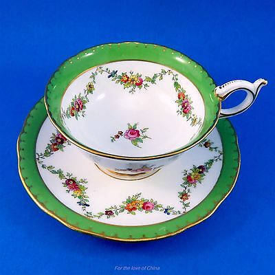 Pretty Floral Garlands with Emerald Green Border Coalport Tea Cup and Saucer Set
