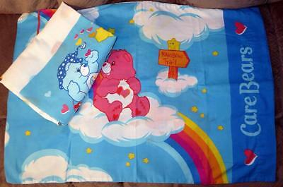 Care Bear 2 Pc Sheet Twin Flat Sheet Pillowcase Catch Some Fun Blue Heart Fabric