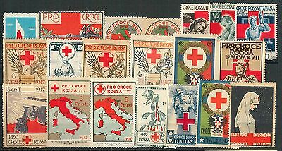 60963 -  ITALY -  VINTAGE LABELS Poster Stamps: ITALIAN RED CROSS - Set of 19