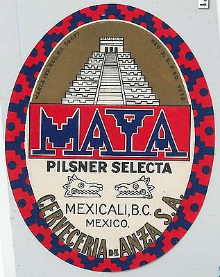 61071 -  MEXICO -  VINTAGE beer bottle LABEL - MAYA Pilsner Selecta MEXICALI