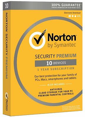 Norton Security Premium + Backup 25GB 10-Devices 1Year | Physical Product - 2017