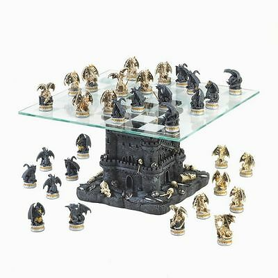 Black Tower Castle Battleground Dragon Chess Set With Glass Board NIB
