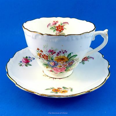 "Signed Floral Bouquet "" Fragrance "" Coalport Tea Cup and Saucer Set"
