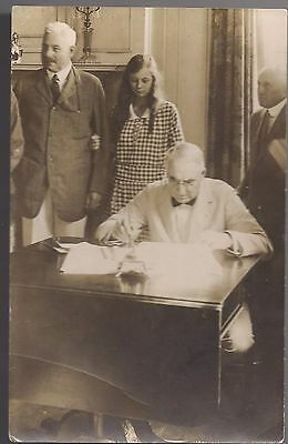 1921 Snapshot of History Postcard Harding Signs Knox-Porter Resolution WWI End