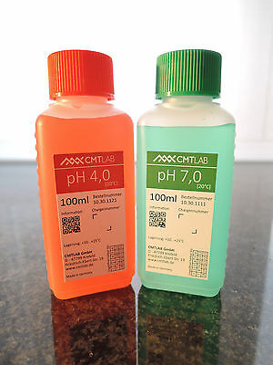 pH Pufferlösung, Set 100ml, pH4 + pH7, Industriequalität, Made in Germany