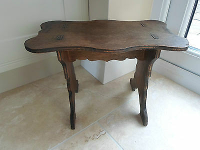 Vintage French footstool, rustic primitive dark plywood, shed art school project