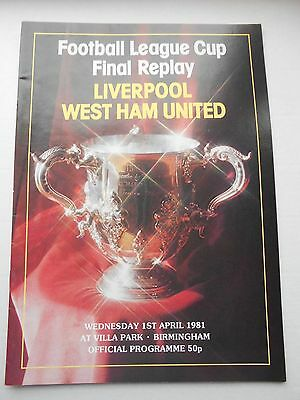 Liverpool West Ham League Cup Final replay Apr 1981