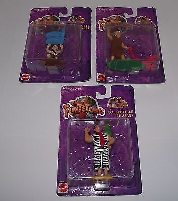 """3 Mattel The Flintstones 3"""" Inch Collectible Figures Factory Sealed On Cards"""
