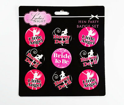 9 Hen Party Night Badge Set Angel Devil Bride To Be Fancy Dress Accessory Favour