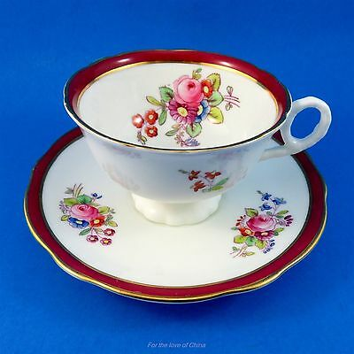 Deep Red Border with Handpainted Flowers Coalport Tea Cup and Saucer Set