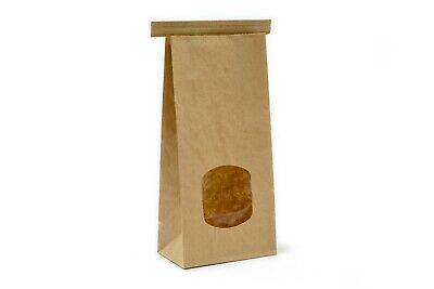 *NEW* Kraft Tin Tie 500g Poly Lined Bags With Window Food Suitable 10 25 50 200